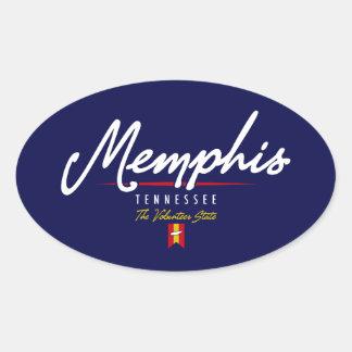 Memphis Script Oval Sticker