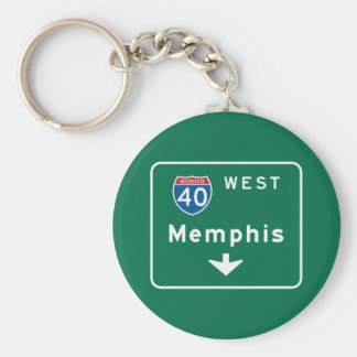 Memphis, señal de tráfico del TN Llavero Redondo Tipo Pin