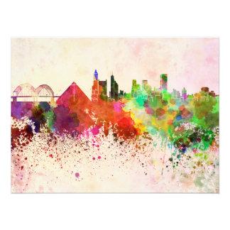Memphis skyline in watercolor background fotografías