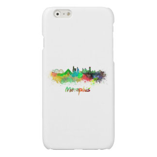 Memphis skyline in watercolor glossy iPhone 6 case
