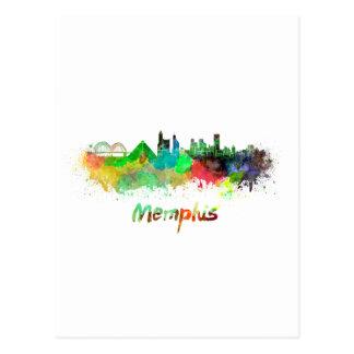 Memphis skyline in watercolor postales