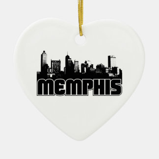 Memphis Skyline Double-Sided Heart Ceramic Christmas Ornament