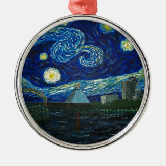 """Memphis Starry Night"" by Jack Lepper Metal Ornament"