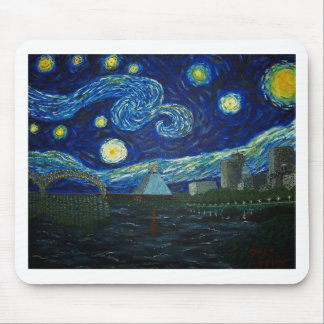 """""""Memphis Starry Night"""" by Jack Lepper Mouse Pad"""