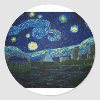 """""""Memphis Starry Night"""" by Jack Lepper Round Stickers"""