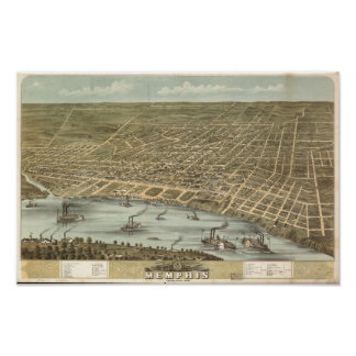 Memphis Tennessee 1870 Antique Panoramic Map Poster
