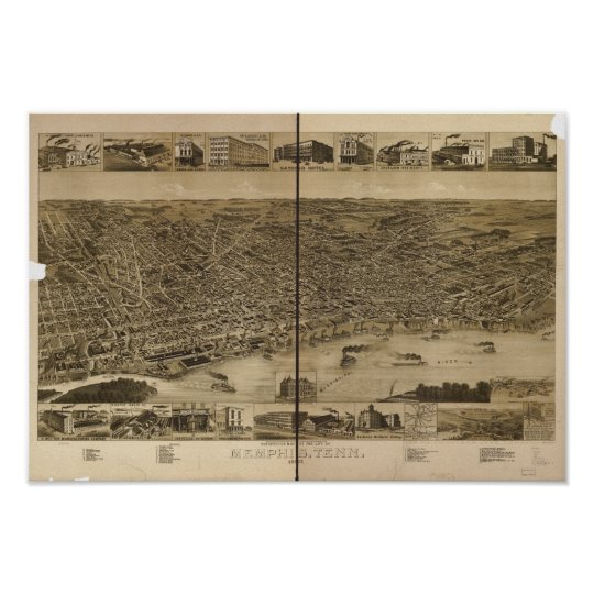 Memphis Tennessee 1887 Antique Panoramic Map Poster
