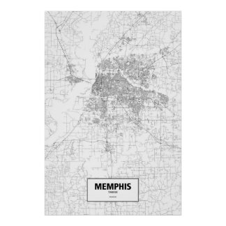 Memphis, Tennessee (black on white) Poster