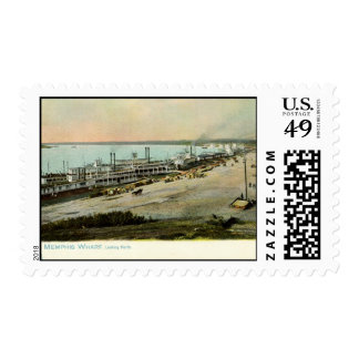 Memphis Tennessee, Boats at a Wharf 1906 Vintage Postage Stamp