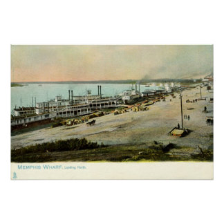 Memphis Tennessee, Boats at a Wharf 1906 Vintage Poster