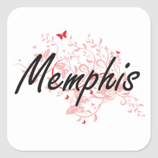 Memphis Tennessee City Artistic design with butter Square Sticker
