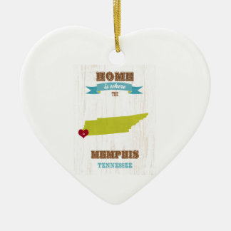 Memphis, Tennessee Map – Home Is Where The Heart I Ceramic Ornament
