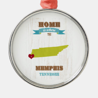 Memphis, Tennessee Map – Home Is Where The Heart I Metal Ornament