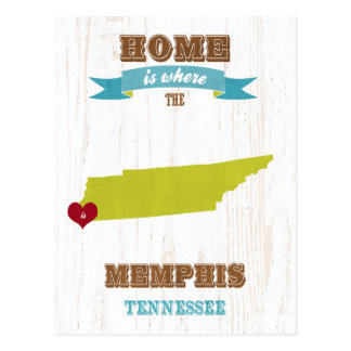 Memphis, Tennessee Map – Home Is Where The Heart I Postcard