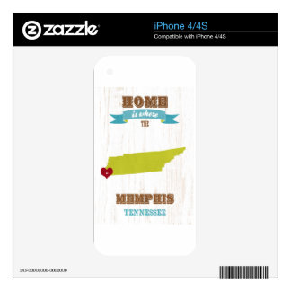 Memphis, Tennessee Map – Home Is Where The Heart I Decal For The iPhone 4