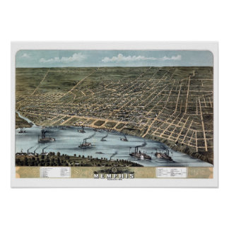 Memphis Tennessee Panoramic Map Bird's Eye View Poster