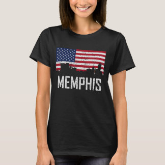 Memphis Tennessee Skyline American Flag Distressed T-Shirt