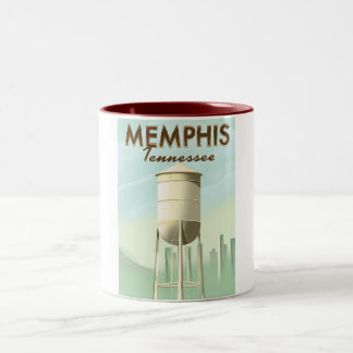 Memphis Tennessee vintage travel poster Two-Tone Coffee Mug