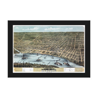 Memphis TN Panoramic Map DIGITALLY REMASTERED Stretched Canvas Prints