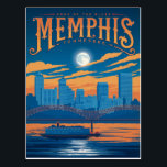 """Memphis, TN Postcard<br><div class=""""desc"""">Anderson Design Group is an award-winning illustration and design firm in Nashville,  Tennessee. Founder Joel Anderson directs a team of talented artists to create original poster art that looks like classic vintage advertising prints from the 1920s to the 1960s.</div>"""
