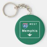 Memphis, TN Road Sign Basic Round Button Keychain