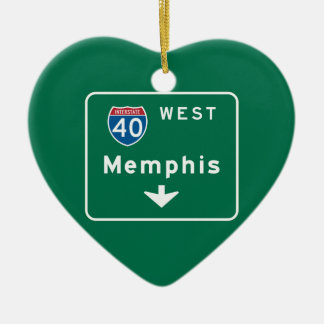 Memphis, TN Road Sign Double-Sided Heart Ceramic Christmas Ornament