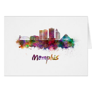 Memphis V2 skyline in watercolor Card