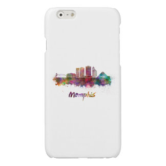 Memphis V2 skyline in watercolor Glossy iPhone 6 Case