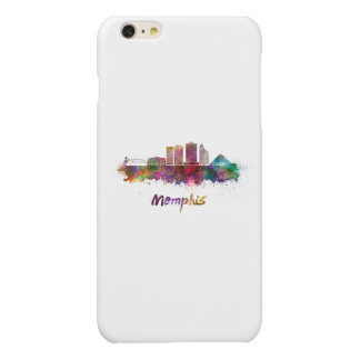 Memphis V2 skyline in watercolor Glossy iPhone 6 Plus Case