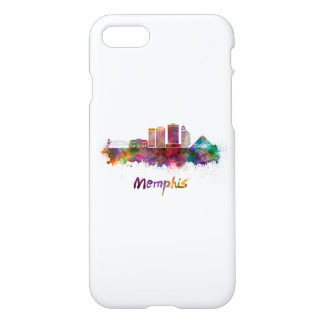 Memphis V2 skyline in watercolor iPhone 7 Case