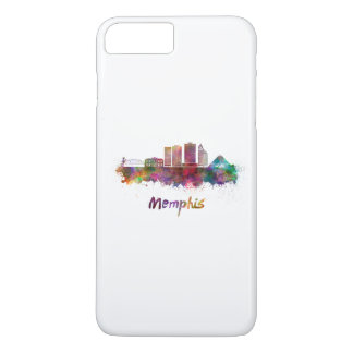 Memphis V2 skyline in watercolor iPhone 7 Plus Case