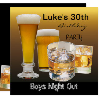 Men 30th Birthday Party Drinks Beer Boys Night 2 Card