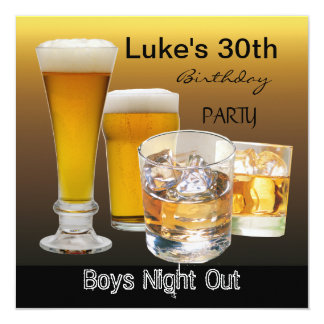 Men 30th Birthday Party Drinks Beer Boys Night 2 5.25x5.25 Square Paper Invitation Card
