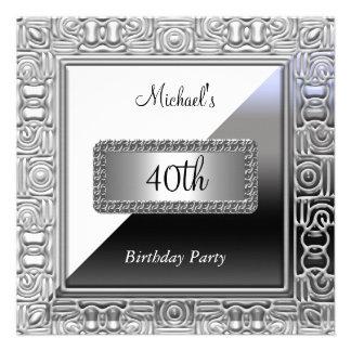 Men 40th Birthday Party Invitation White Silver Personalized Invitations