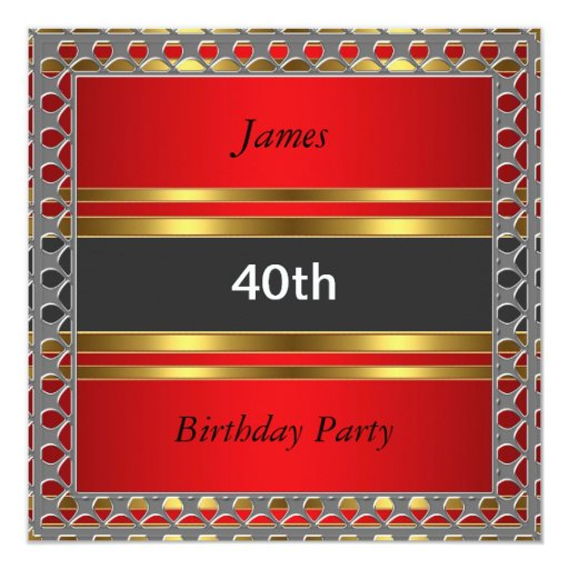 Men 40th birthday party red invitation zazzle - Birthday decorations for mens th ...