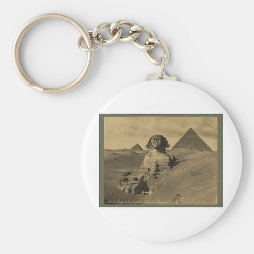 Men and Camels on the Paw of the Sphinx, Pyramids Basic Round Button Keychain