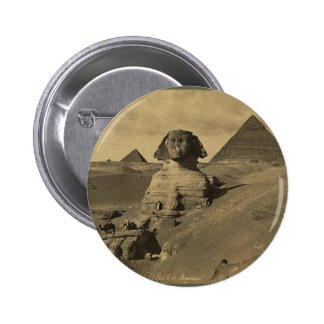 Men and Camels on the Paw of the Sphinx, Pyramids Pinback Button