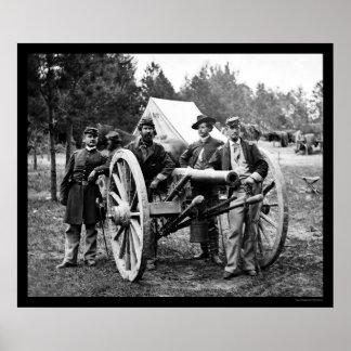 Men and Cannon at Fair Oaks, VA Encampment 1862 Poster