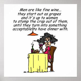 Men and FIne Wine Humor Poster