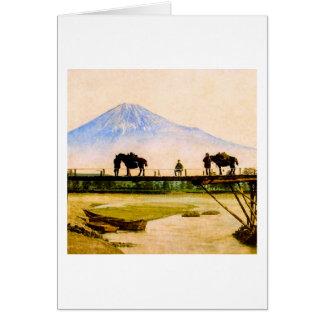 Men and Horses on Bridge Beneath Mt. Fuji Vintage Card