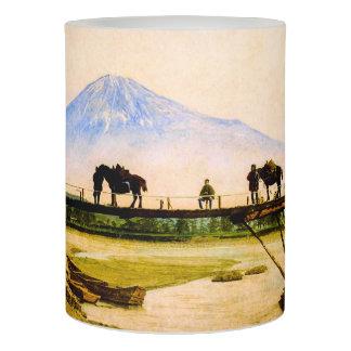 Men and Horses on Bridge Beneath Mt. Fuji Vintage Flameless Candle