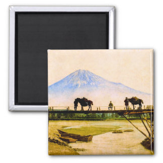 Men and Horses on Bridge Beneath Mt. Fuji Vintage Magnet