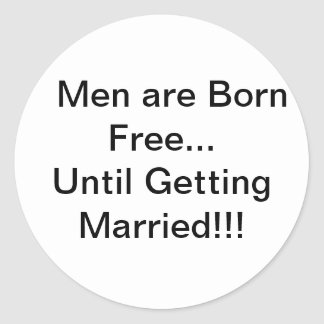 Men and Marriage Classic Round Sticker
