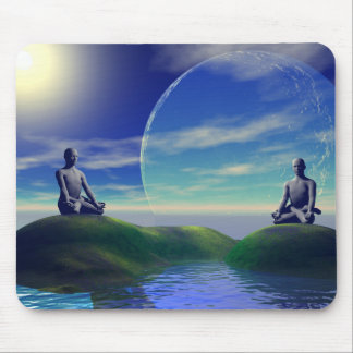 men and moon yellow and sky mouse pad