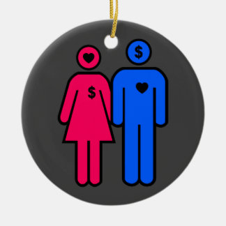 Men and Women Double-Sided Ceramic Round Christmas Ornament