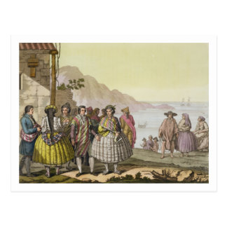 Men and women in elaborate costume, Chile, from 'L Postcard