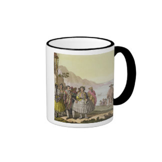 Men and women in elaborate costume, Chile, from 'L Ringer Mug