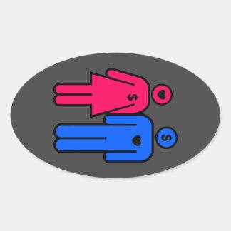 Men and Women Oval Sticker