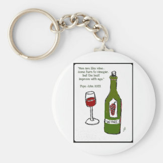 Men are like wine - some turn to vinegar, but the basic round button keychain