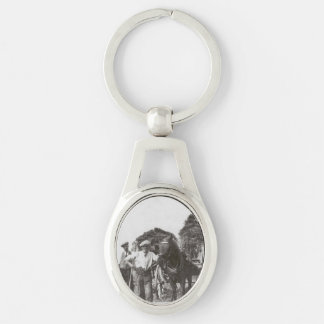 Men At Work Black & White Oval Metal Keychain